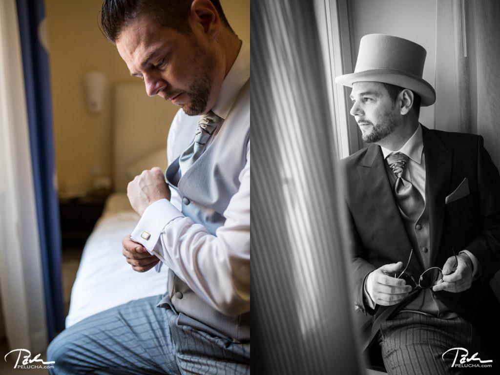 groom getting ready in hotel aria