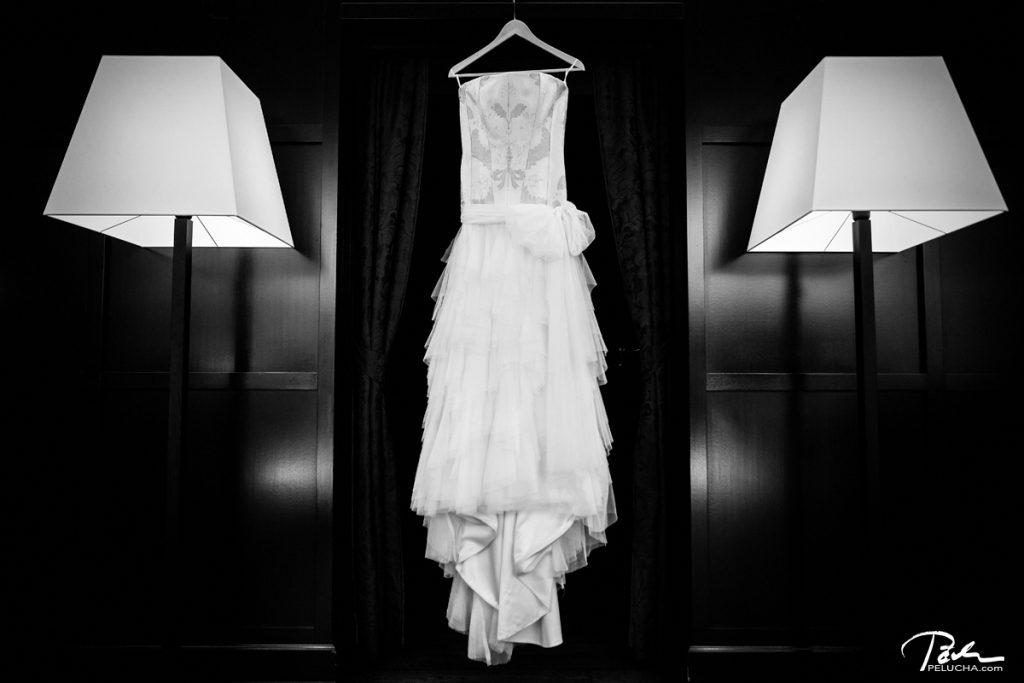 wedding dress in hotel aria
