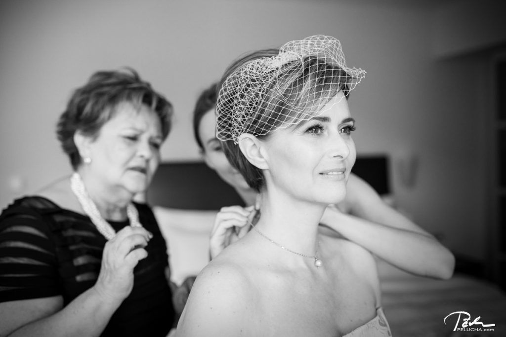 bride getting ready in hotel aria