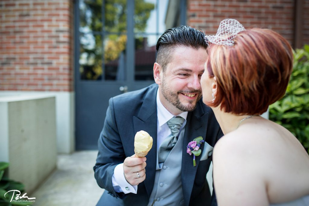 couple eating ice cream and laughing