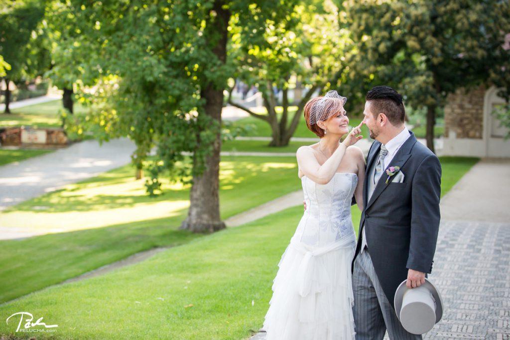 bride pinching her husband's nose