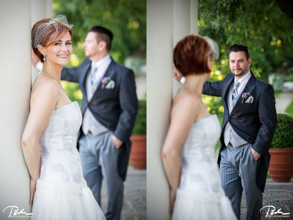 portrait of bride and groom standing in different distances