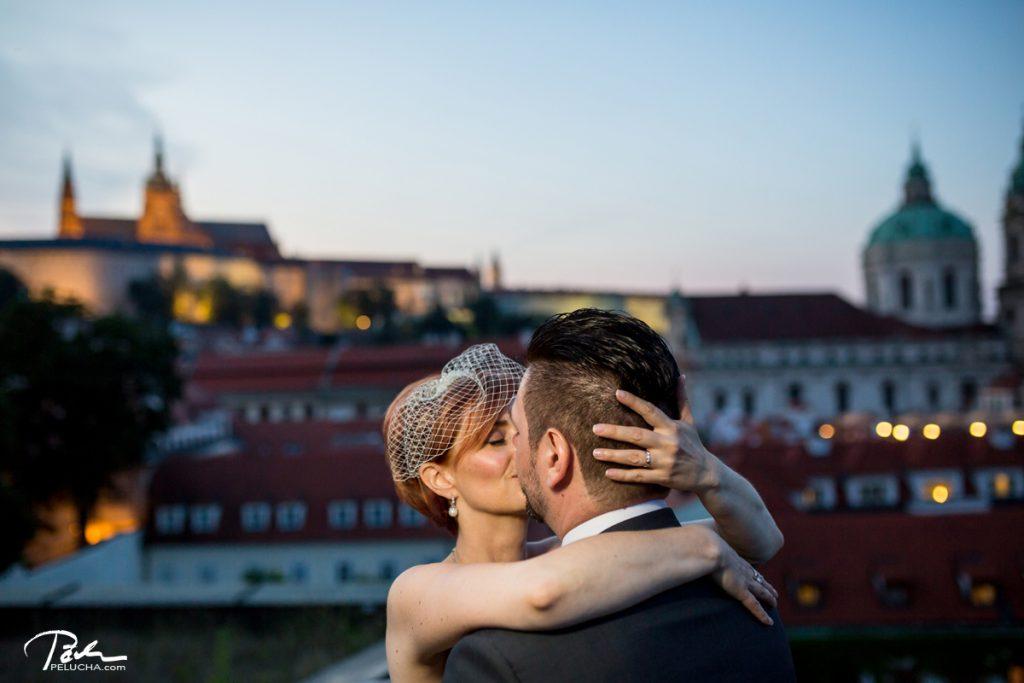 newlyweds kissing, close portrait